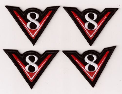 WHITE IRON ON PATCHES  RED SET OF 4 V8 EMBROIDERY SEW ON