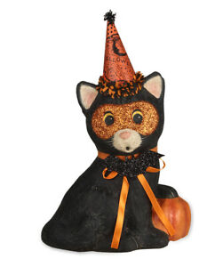Bethany-Lowe-PARTY-KITTY-Paper-Mache-039-Black-Cat-Figure-TJ7748