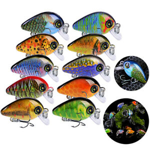Lot 10pcs Kind of Fishing Lures Crankbaits Hooks Minnow Baits Tackle Crank Tool