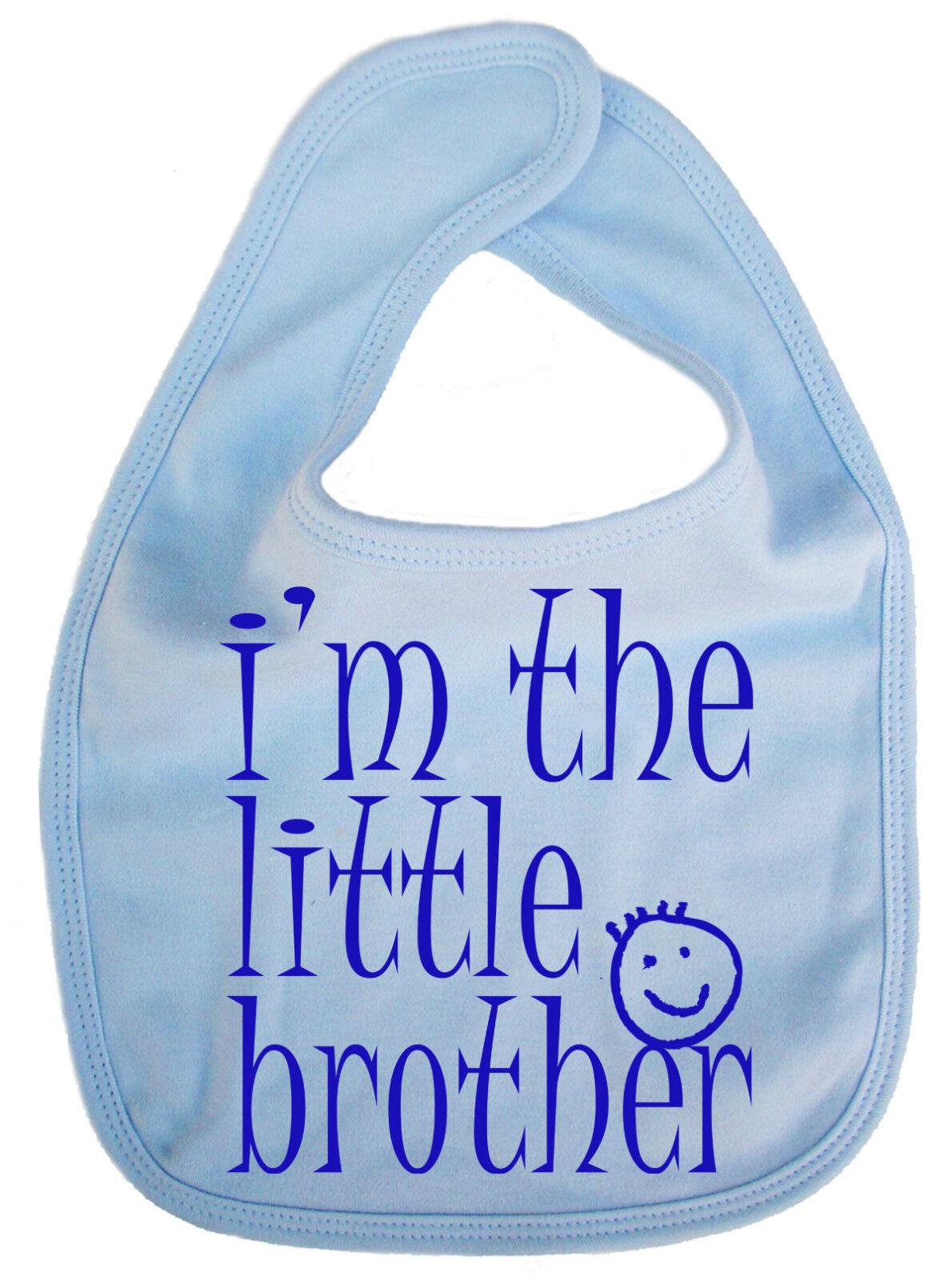 "Baby Brother Bib /""I/'m the Little Brother/"" New Baby Boy feeding Newborn Gift"