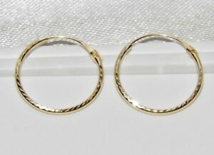 9ct Gold 12mm Diamond Cut Hinged Sleeper Hoop Earrings
