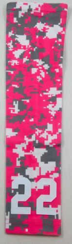 Custom Number YOUTH MEDIUM Sports Arm Sleeve DIGITAL CAMO HOT PINK GRAY WHITE