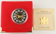 Canada 1999 1 Oz Silver Year of Rabbit GEM Proof Coin Gold Plated +BOX & COA