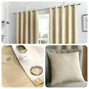 Curtina-FEATHER-Natural-Metallic-Jacquard-Woven-Eyelet-Curtains-amp-Cushions