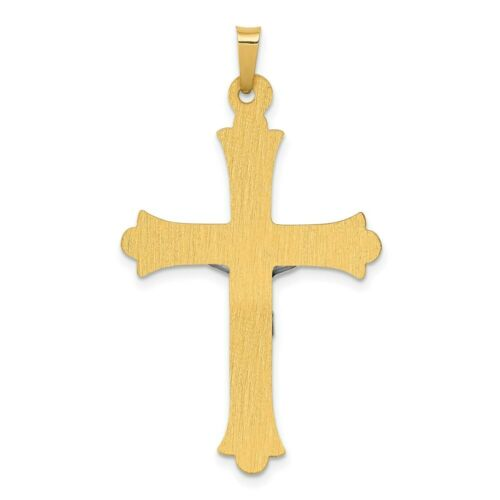 14k Gold Two-Tone Textured INRI Crucifix Cross Charm Pendant 1.58 Inch