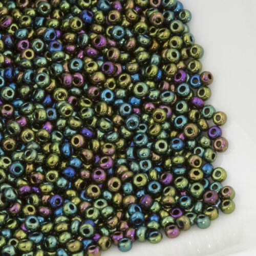 Vintage Czech Seed Beads Round 11//0 Metallic Dark Green Iris AB #1 20g 10644050