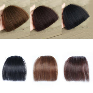 100-Real-Human-Hair-Neat-Thick-Thin-Air-Bangs-Clip-In-Fringe-Front-Hairpiece