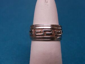 Geometric Design Wide Sterling Silver 925 Band Ring Sz 5 Gold color accent