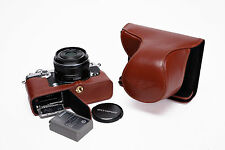 Genuine Real Leather Full Camera Case Bag Cover for Olympus PEN-F PEN F Open