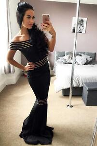 Quiz-Black-Bardot-Dress-Ball-Gown-Mesh-Detail-Long-Fishtail-Maxi-Evening-Prom