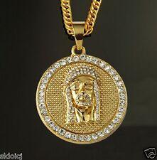 18k Gold Plated JESUS HEAD PIECE Rhinestone Pendant Chain Hip Hop Necklace N39
