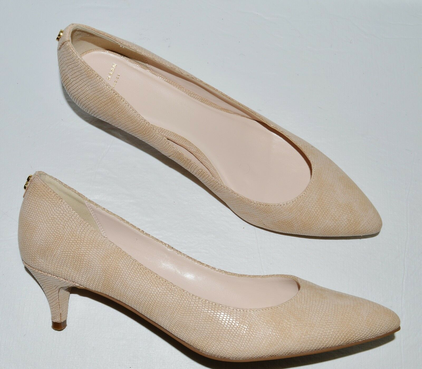 COLE HAAN GRAND OS SZ 9.5 M BEIGE SNAKE PRINT LEATHER PUMPS HEELS DRESS Schuhe