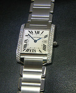 Cartier-Tank-Francaise-Steel-Diamond-Bezel-Ladies-Midsize-Quartz-Watch-2465