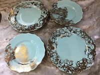222 Fifth Garden Playtime Turquoise Gold Plates. 2 Dinner, 2 Salad. New.