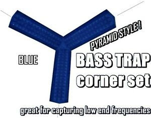 CORNER-BASS-TRAP-KIT-4pc-BLUE-for-Studio-Soundproofing-Acoustic-Wedge-Foam-Tiles