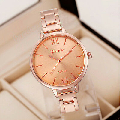 Geneva Luxury Women Thin Stainless Steel Band Analog Quartz Wrist Watch Watches