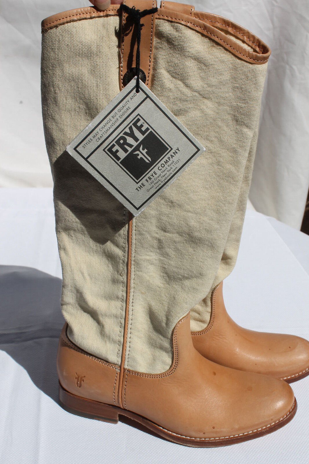 FRYE Melissa Button  tan canvas leather cowboy boot SIZE 6.5