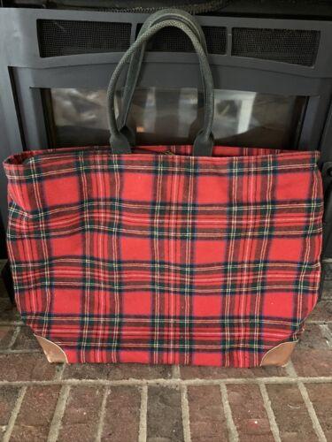 LL BEAN Vintage Wool Tote Shopper Bag, RED Tartan