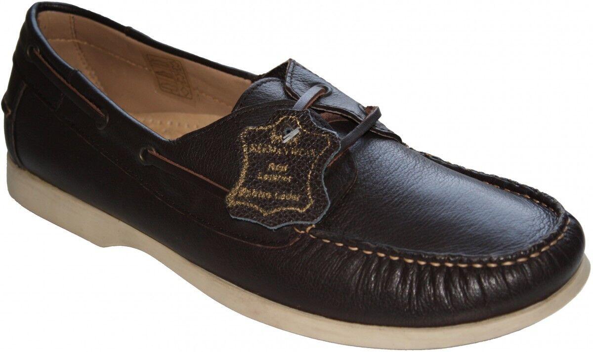 German Wear,Bootsschuhe Segelschuhe Halbschuhe aus Rindsleder Schuhe dunkelbraun