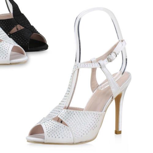 Damen Abiball Sandaletten Party High Heels Strass Hochzeit Schuhe 814536 Top