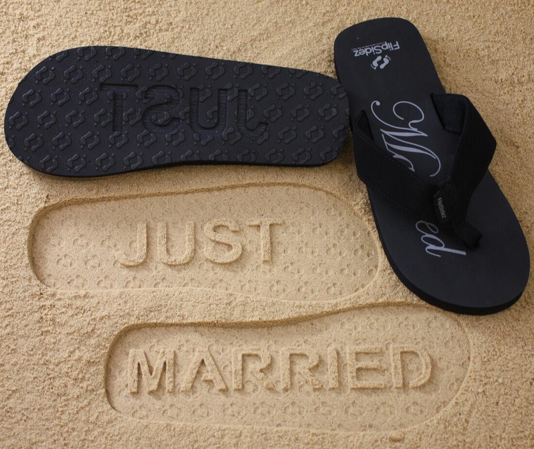 166dd442040f0 JUST MARRIED Flip Flops. FlipSidez Sand Imprint Sandals.