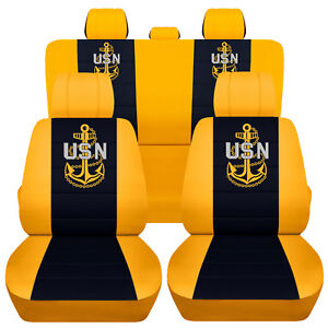 Truck Seat Covers 2018 Ford F150 60 40 Rear Split Yellow Navy Blue
