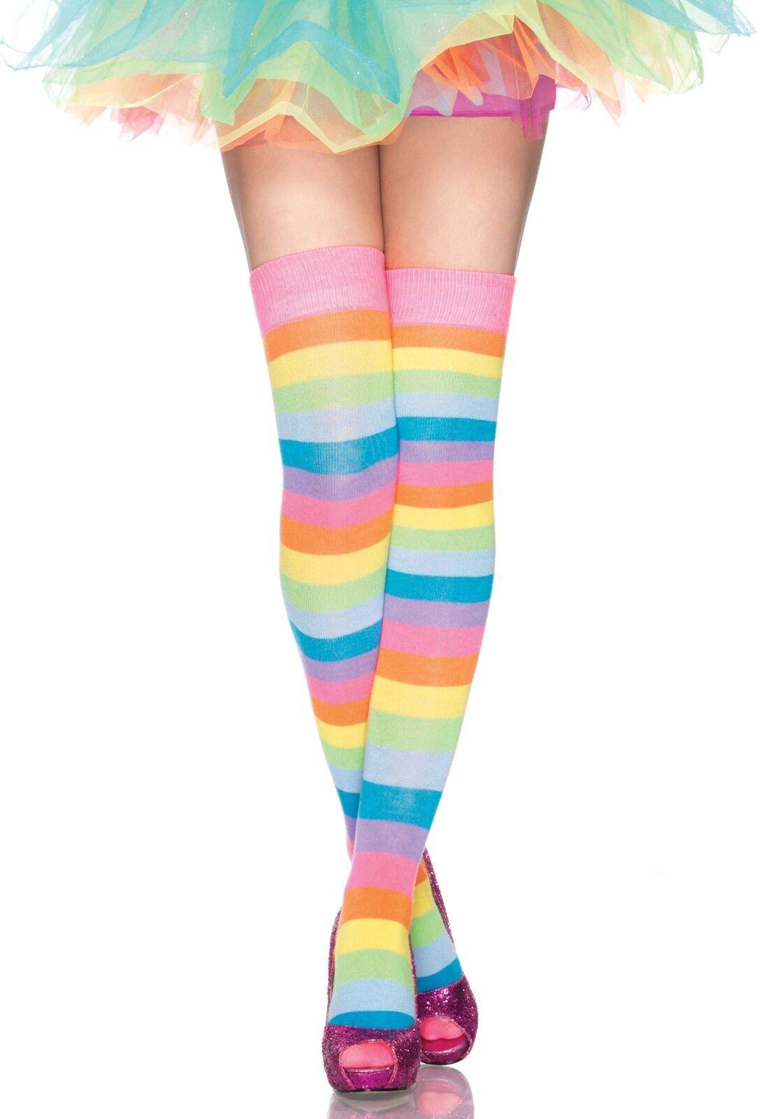 5f9a9e1364001 Details zu LAG 6600 Leg Avenue Socken Strümpfe Overknees Regenbogen  Streifen Kniestrümpfe