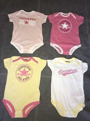 X5 CONVERSE Babygrows Vest 6-9 Months Baby Grow Playsuit Bundle Girl SALE Cute