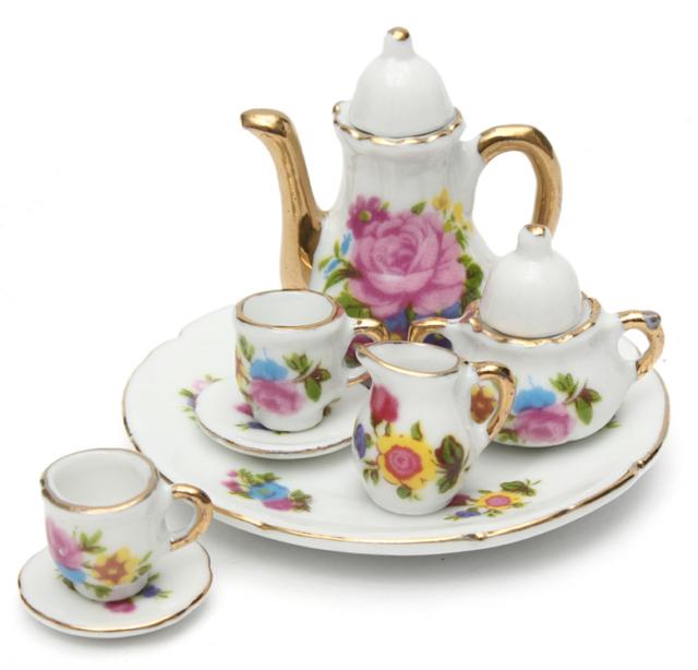 Dollhouse Accessories Miniature Porcelain Vintage Tea Set Doll House