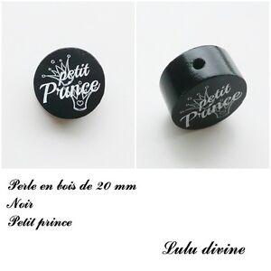 Perle plate Petit prince Perle en bois de 20 mm Couronne : Blanc // Bleu