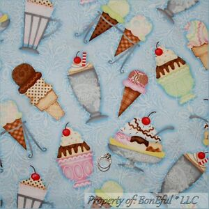 BonEful-Fabric-FQ-Cotton-Quilt-Blue-White-ICE-CREAM-Cone-Cherry-Birthday-Flower