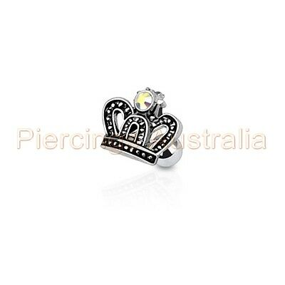 16G Crown CZ Cartilage Tragus Bar Ear Ring Piercing Stud Body Jewellery