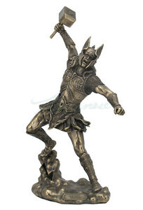 """Thor Unleashed With Hammer Norse God Of Thunder Statue Sculpture Figure 12"""" Tall"""