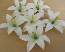 "Six Piece Lot 3.5 "" Cream White Lily Silk Flower Hair Clips, Wedding,Prom, Dance"