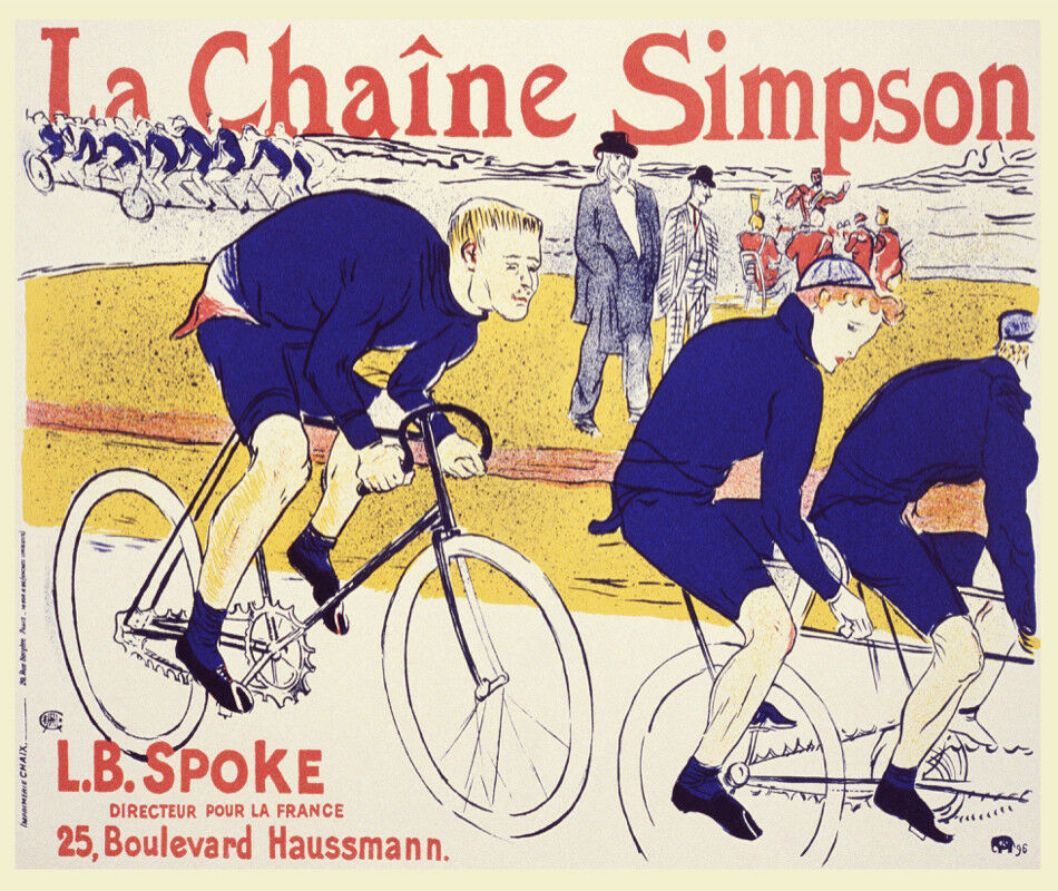 Decorative Poster.Home Room interior wall design.Bicycle race.Art Nouveau.7747