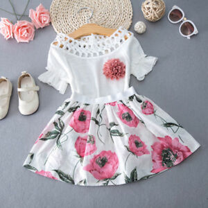 c652f7b5b72a EG_ Newborn Kids Girls Short Sleeve T-shirt + Floral Skirt Set ...