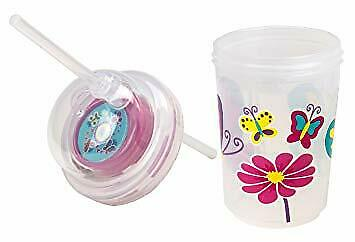 Nuspin Kids 240ml Sip /& Spin Fun Straw Cup,Butterflies Fly Around When You Drink