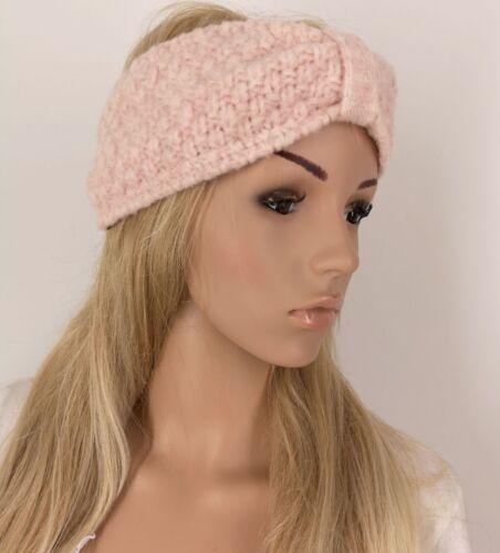 Zwillingsherz Stirnband Rosa mit Wolle Fleece Grobstrick Ohrenschützer Haarband