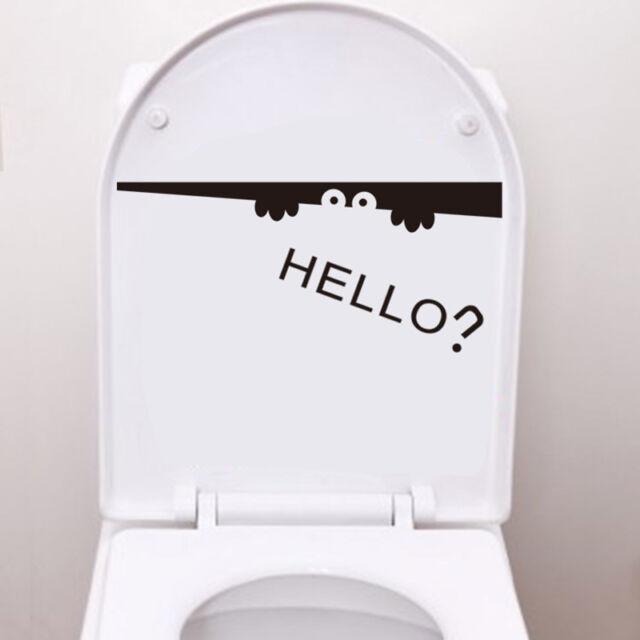 New Creative Toilet Peeking Monster Hello Bathroom Decal Funny Vinyl Sticker CN