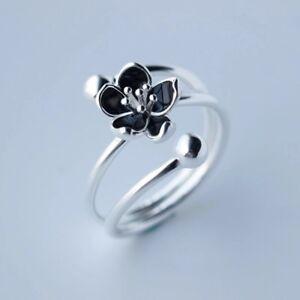 Ring-Damen-Bluete-Blume-Schwarz-925-Silber-Verstellbar-Filigran-Ringe