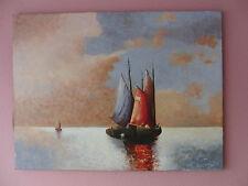 Ölbild von H. Fragut * Segelboote * Impressionismus * Meer Segeln Fischer See