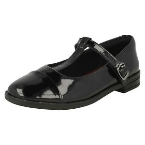28913138f3 Details about SALE CLARKS GIRLS T BAR SCHOOL SHOE DREW SHINE BLACK LEATHER  PATENT