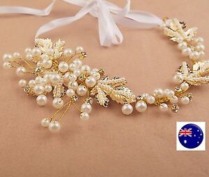 Women-Party-dance-gold-color-Pearl-leaf-Wedding-Bride-Hair-Headband-Headpiece