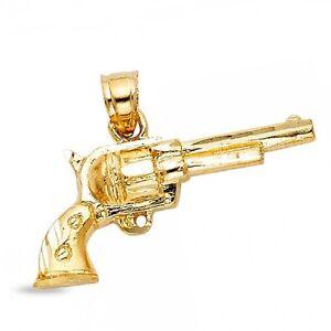 Solid 14k yellow gold pistol gun pendant long barrel colt revolver image is loading solid 14k yellow gold pistol gun pendant long aloadofball Gallery