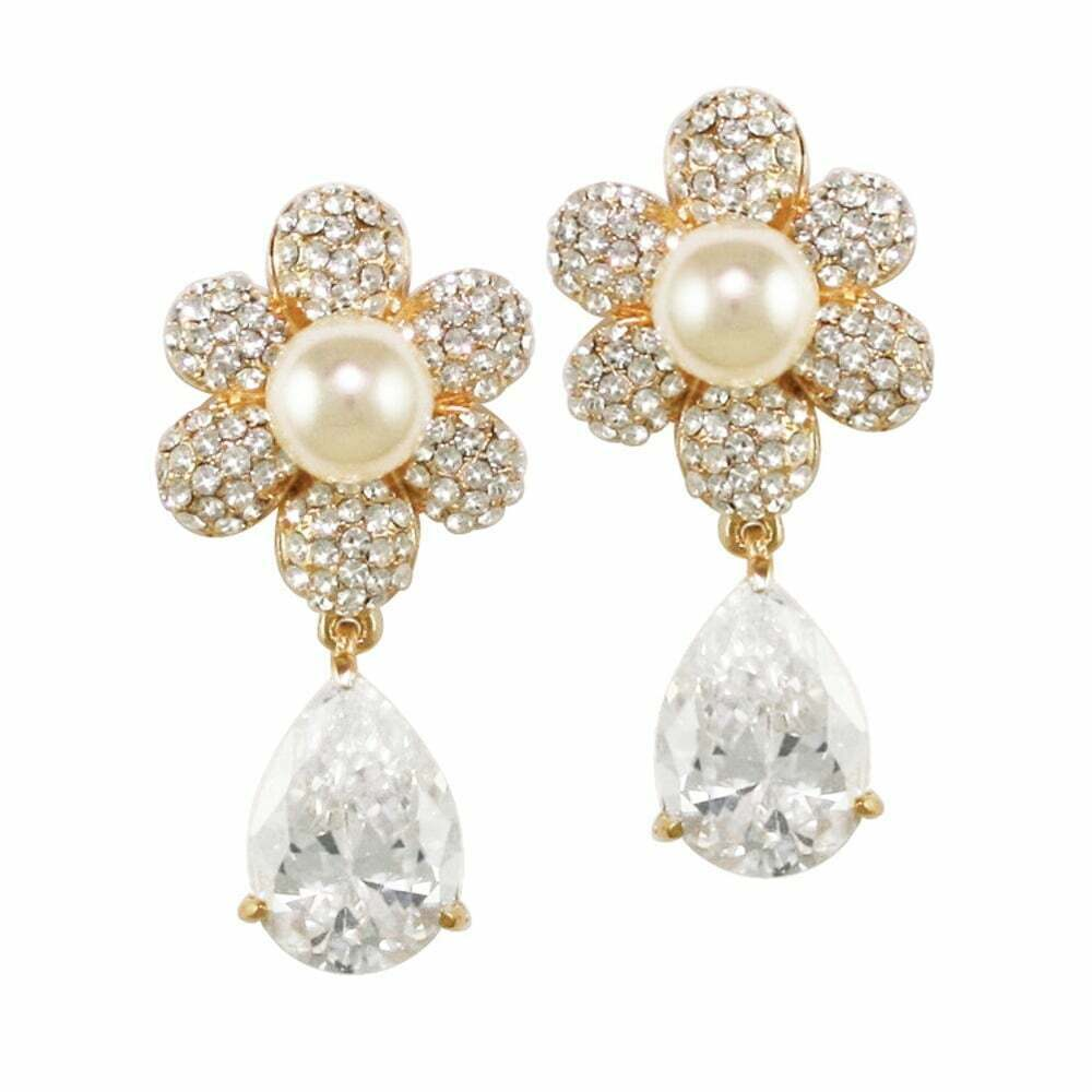 Candide Cubic Zirconia and Austrian Crystal gold Tone Drop Pierced Earrings
