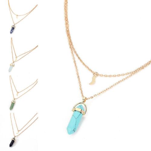 Necklace Natural Quartz Crystal Gemstone Pendant Choker Moon Layer Healing Stone