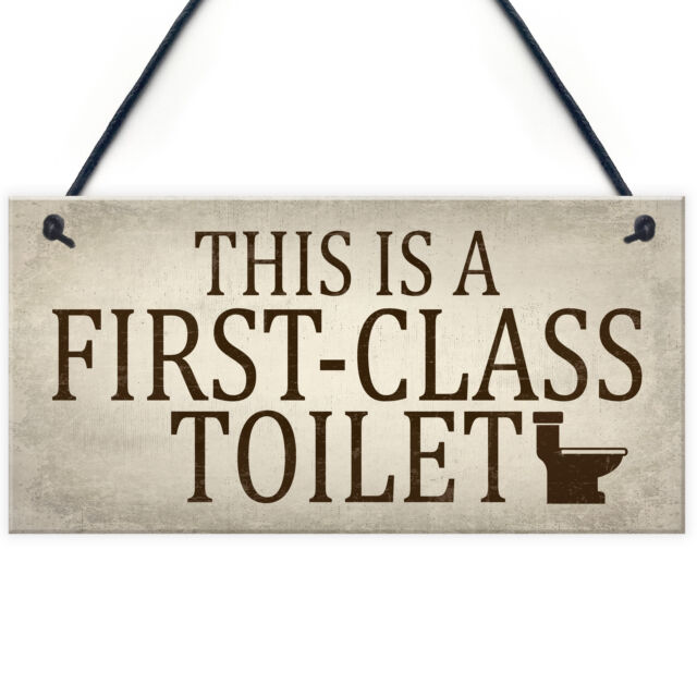 first class toilet chic hanging wall plaques bathroom loo door signs rh ebay co uk decorative wall plaques for bathroom