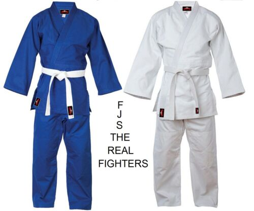 Judo Uniform BJJ GI Single Weave 450 gram White Blue kids/Adults NEW FJS