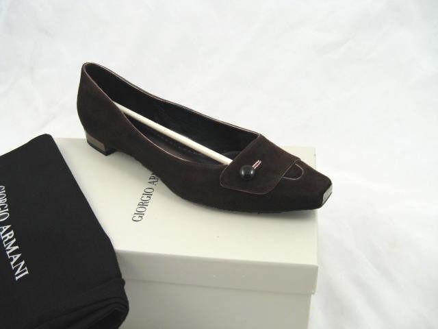 Nuevo    595 Giorgio Armani Clásico Zapatos De Gamuza (pisos)  EE. UU. 6 euro 36 Negro  Mercancía de alta calidad y servicio conveniente y honesto.