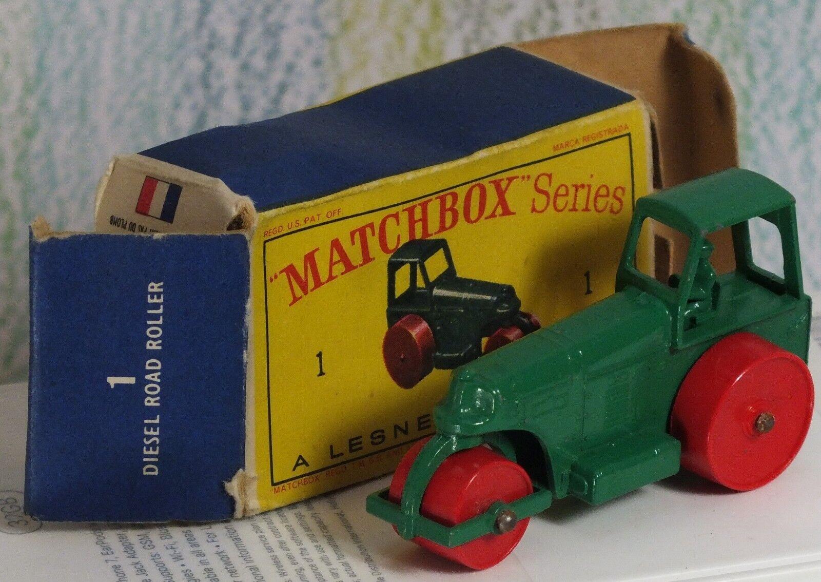 MATCHBOX LESNEY  1d Aveling Barford Road Roller Plastique Rouleaux nmingbox